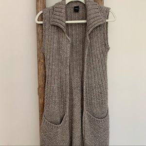 Mid Long Wool Sleeveless Cardigan